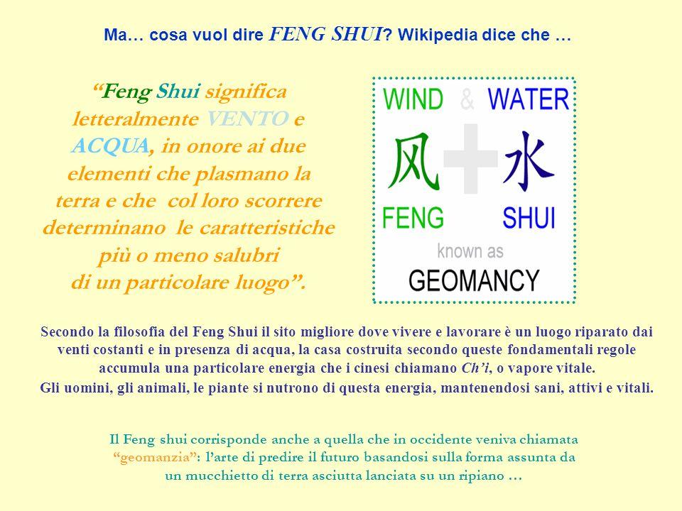 Feng Shui significa letteralmente VENTO e ACQUA, in onore ai due elementi che plasmano la terra e che col loro scorrere determinano le caratteristiche più o meno salubri di un particolare luogo.