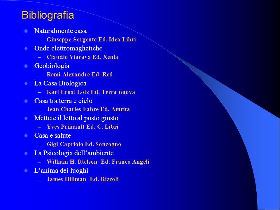 Bibliografia Naturalmente casa – Giuseppe Sorgente Ed. Idea Libri Onde elettromaghetiche – Claudio Viacava Ed. Xenia Geobiologia – Remi Alexandre Ed.