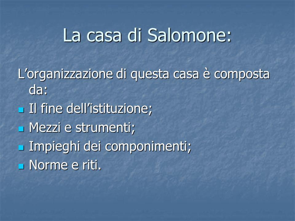 La casa di Salomone: Lorganizzazione di questa casa è composta da: Il fine dellistituzione; Il fine dellistituzione; Mezzi e strumenti; Mezzi e strume