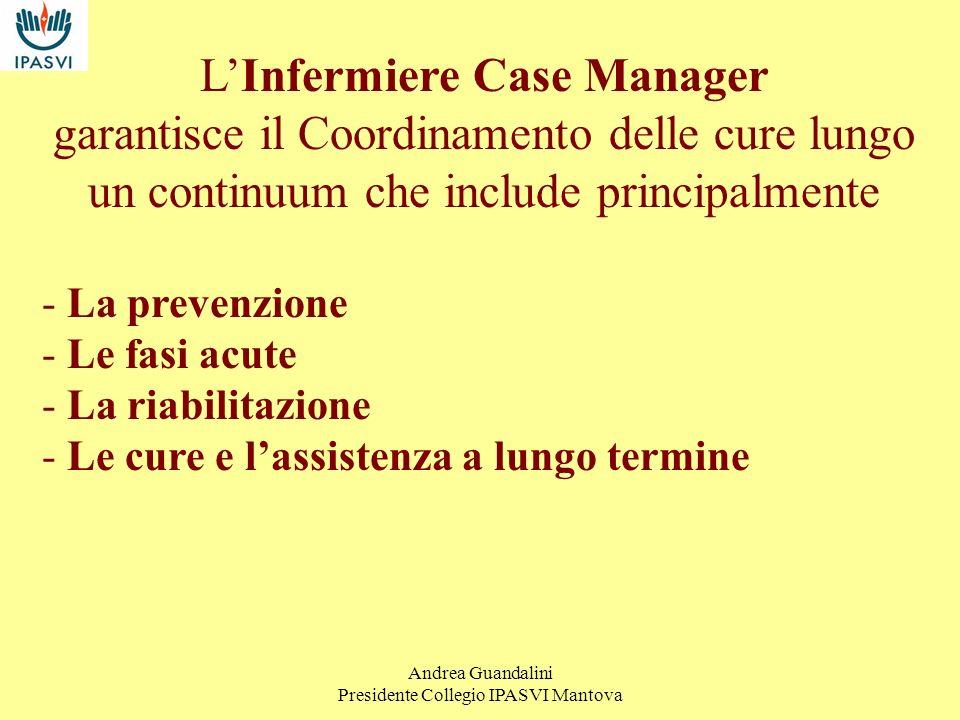 Andrea Guandalini Presidente Collegio IPASVI Mantova Ruoli del Case Manager Ruolo clinico Ruolo manageriale Ruolo economico/finanziario