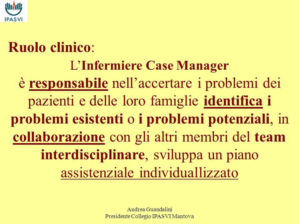 Andrea Guandalini Presidente Collegio IPASVI Mantova Ruolo manageriale: La dimensione del ruolo manageriale assegna allInfermiere Case Manager la responsabilità di facilitare e coordinare lassistenza di pazienti durante la loro presa in carico.