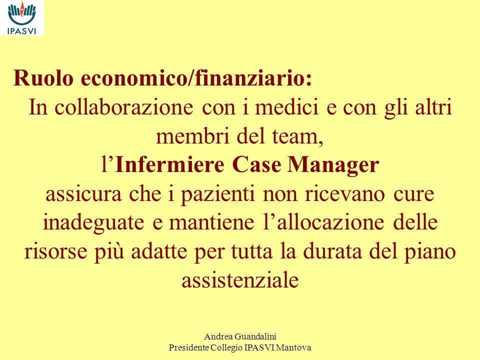 Andrea Guandalini Presidente Collegio IPASVI Mantova LInfermiere Case Manager: Agisce per evitare qualsiasi duplicazione inutile o frammentazione dellattività programmata, in modo da produrre la migliore assistenza e il minor consumo di risorse