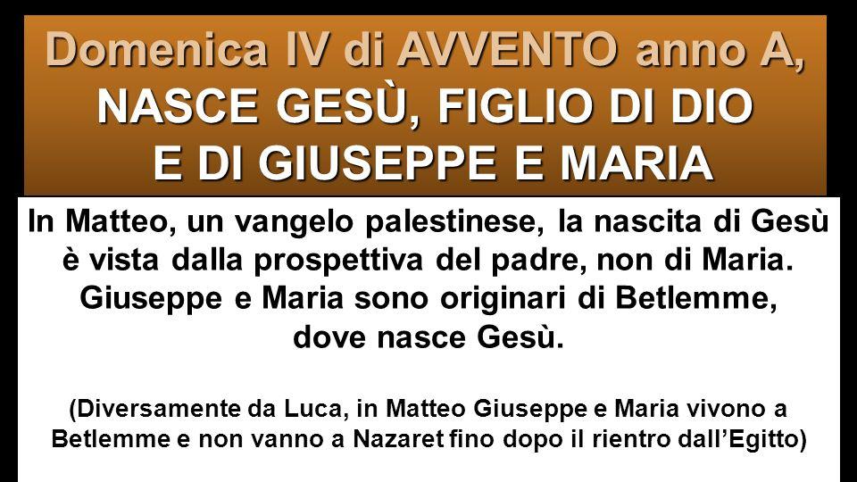 In Matteo, un vangelo palestinese, la nascita di Gesù è vista dalla prospettiva del padre, non di Maria.