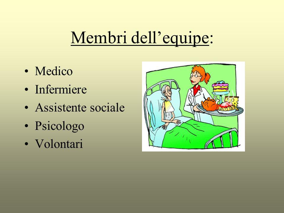 Membri dellequipe: Medico Infermiere Assistente sociale Psicologo Volontari