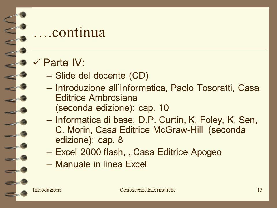 IntroduzioneConoscenze Informatiche13 ….continua Parte IV: –Slide del docente (CD) –Introduzione allInformatica, Paolo Tosoratti, Casa Editrice Ambros