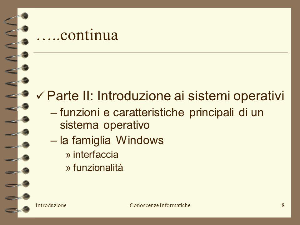 IntroduzioneConoscenze Informatiche9 ….continua Parte II: –Slide del docente (CD) –Introduzione allInformatica, Paolo Tosoratti, Casa Editrice Ambrosiana (seconda edizione): cap.