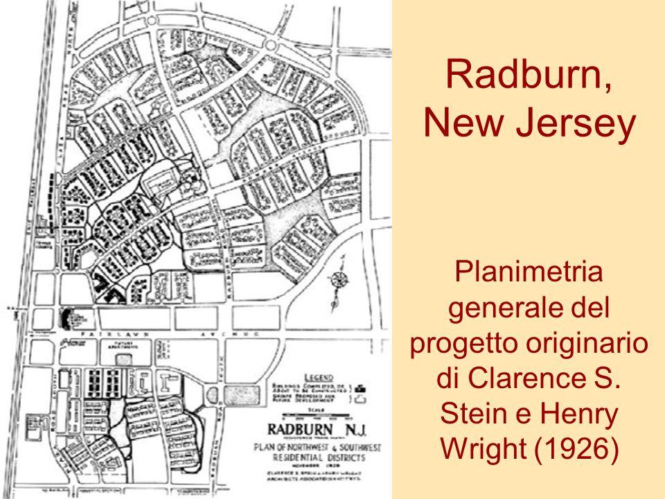 Radburn, New Jersey Planimetria generale del progetto originario di Clarence S. Stein e Henry Wright (1926)