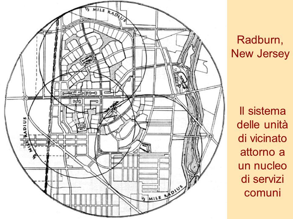 Radburn, New Jersey Il sistema delle unità di vicinato attorno a un nucleo di servizi comuni