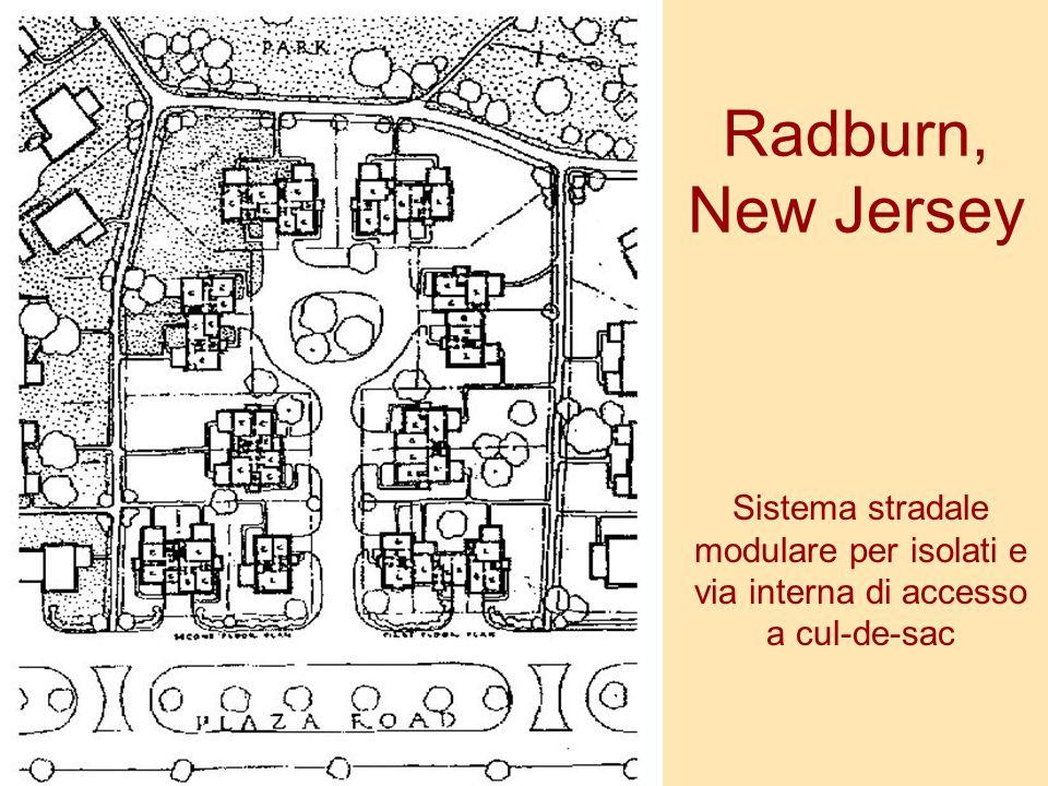 Radburn, New Jersey Sistema stradale modulare per isolati e via interna di accesso a cul-de-sac