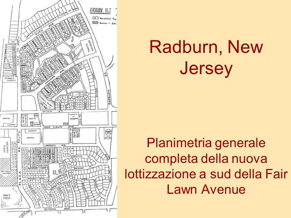 Radburn, New Jersey Planimetria generale completa della nuova lottizzazione a sud della Fair Lawn Avenue