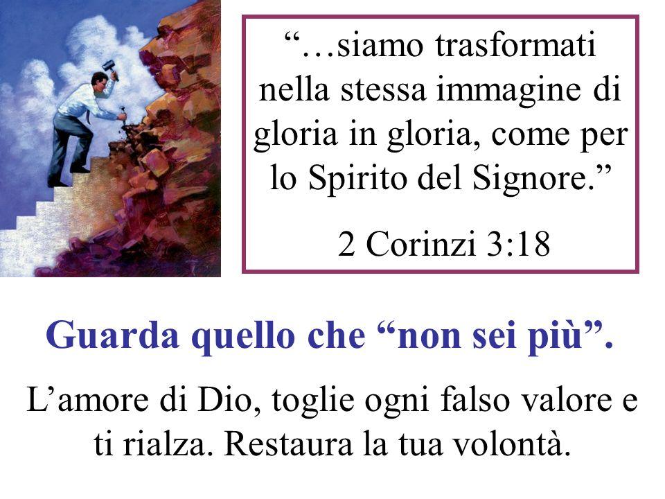 …siamo trasformati nella stessa immagine di gloria in gloria, come per lo Spirito del Signore. 2 Corinzi 3:18 Guarda quello che non sei più. Lamore di