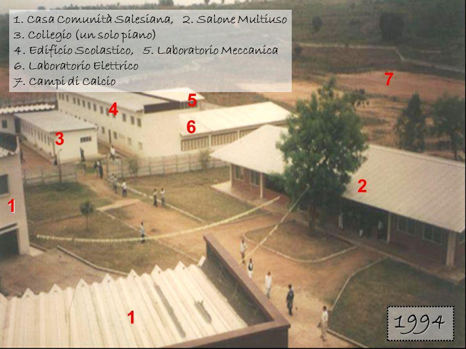 1 1 3 2 4 5 6 7 1. Casa Comunità Salesiana, 2. Salone Multiuso 3. Collegio (un solo piano) 4. Edificio Scolastico, 5. Laboratorio Meccanica 6. Laborat