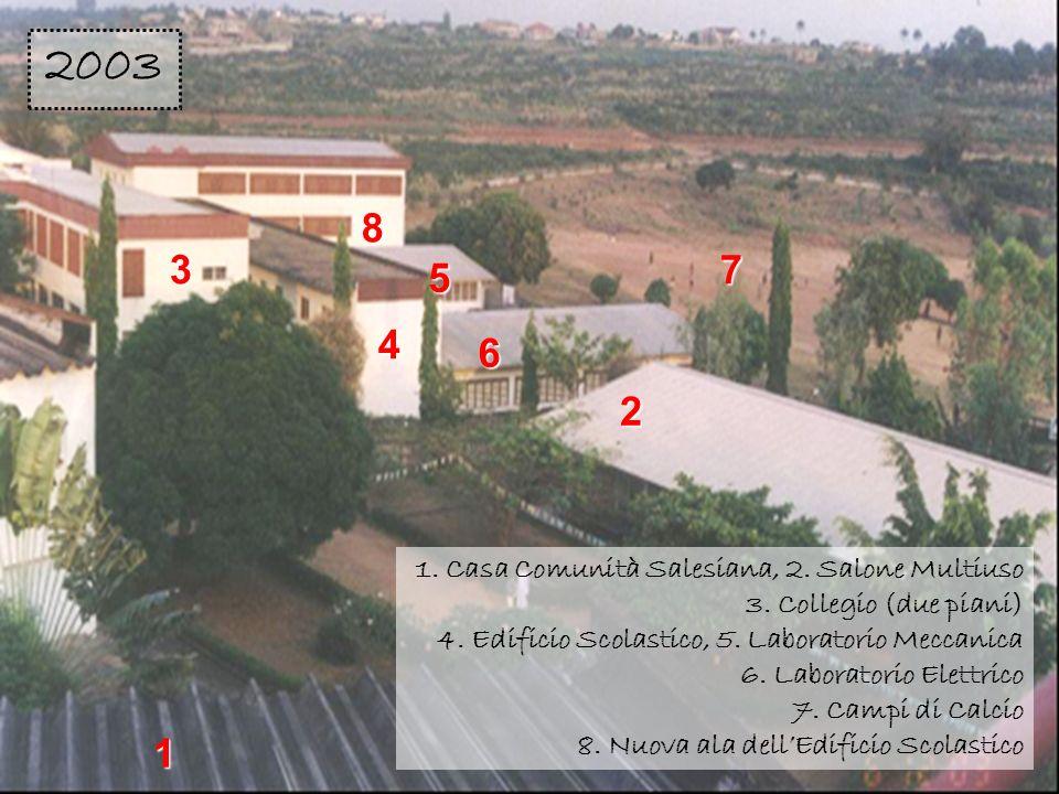 2 3 4 8 6 5 7 1 1. Casa Comunità Salesiana, 2. Salone Multiuso 3. Collegio (due piani) 4. Edificio Scolastico, 5. Laboratorio Meccanica 6. Laboratorio