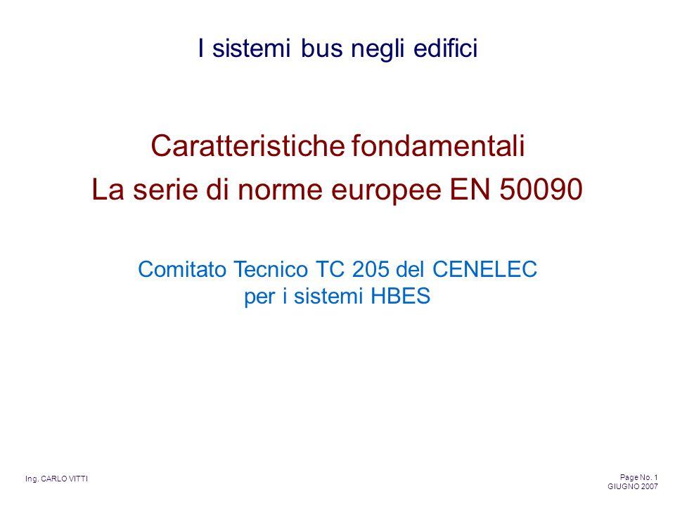 Ing. CARLO VITTI Page No. 1 GIUGNO 2007 I sistemi bus negli edifici Caratteristiche fondamentali La serie di norme europee EN 50090 Comitato Tecnico T