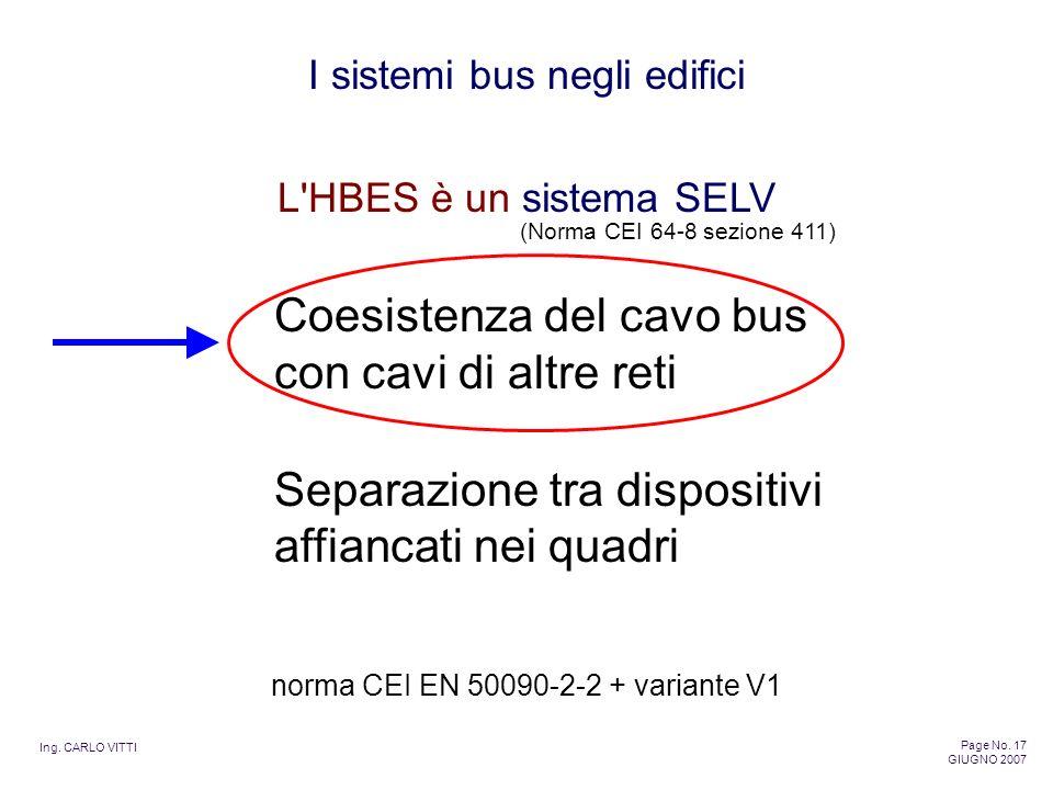 Ing. CARLO VITTI Page No. 17 GIUGNO 2007 I sistemi bus negli edifici L'HBES è un sistema SELV Coesistenza del cavo bus con cavi di altre reti Separazi