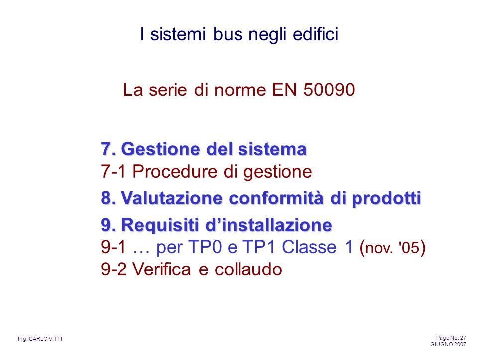 Ing. CARLO VITTI Page No. 27 GIUGNO 2007 I sistemi bus negli edifici 7. Gestione del sistema 7. Gestione del sistema 7-1 Procedure di gestione 8. Valu