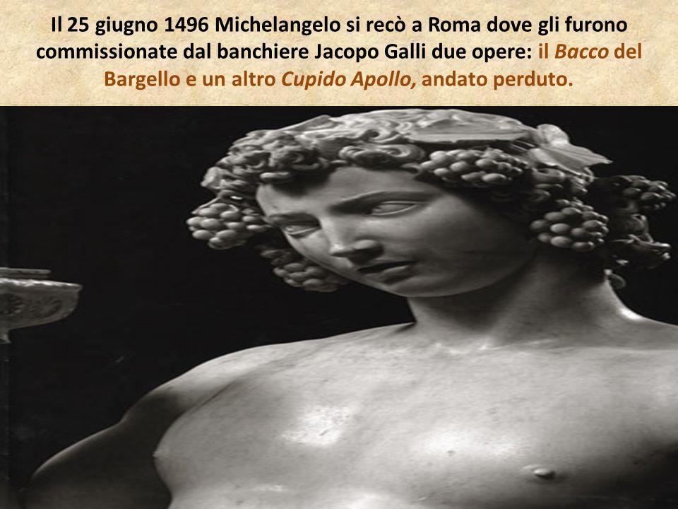 Il 25 giugno 1496 Michelangelo si recò a Roma dove gli furono commissionate dal banchiere Jacopo Galli due opere: il Bacco del Bargello e un altro Cup