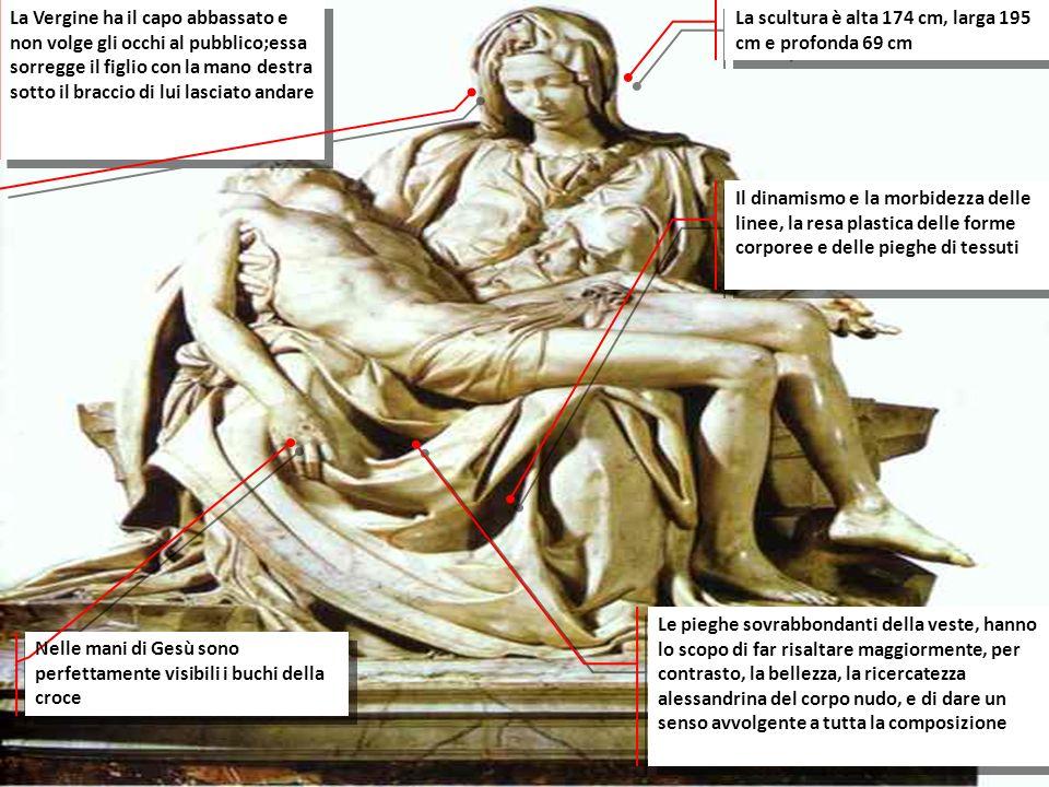 La scultura è alta 174 cm, larga 195 cm e profonda 69 cm Il dinamismo e la morbidezza delle linee, la resa plastica delle forme corporee e delle piegh