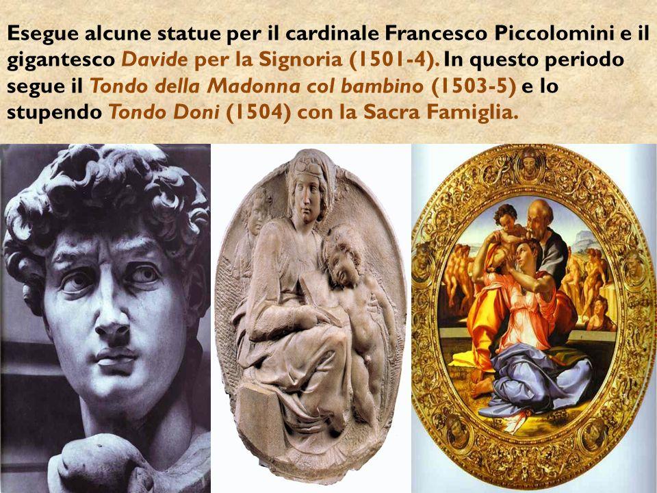 Esegue alcune statue per il cardinale Francesco Piccolomini e il gigantesco Davide per la Signoria (1501-4). In questo periodo segue il Tondo della Ma