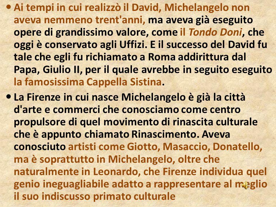 Ai tempi in cui realizzò il David, Michelangelo non aveva nemmeno trent'anni, ma aveva già eseguito opere di grandissimo valore, come il Tondo Doni, c