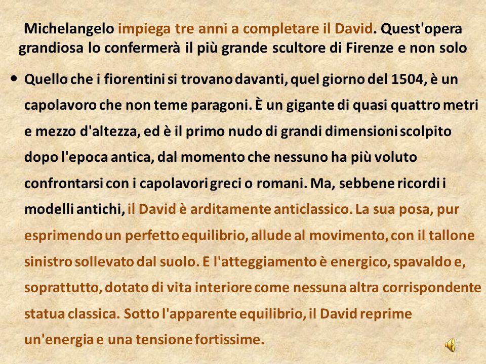 Quello che i fiorentini si trovano davanti, quel giorno del 1504, è un capolavoro che non teme paragoni. È un gigante di quasi quattro metri e mezzo d