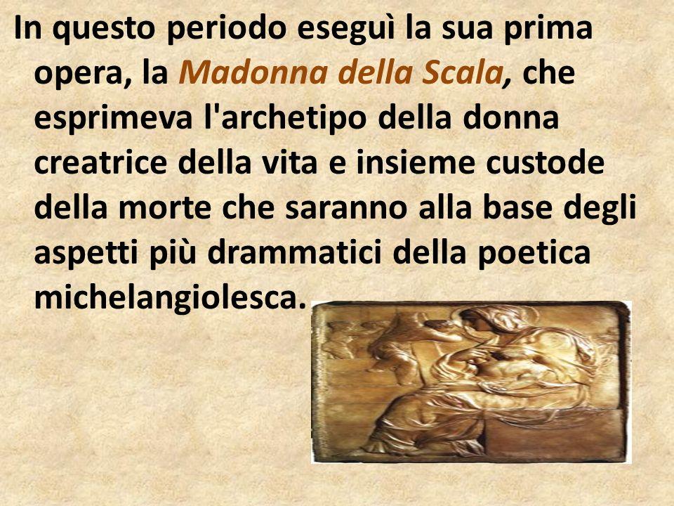 Dalla figura del Cristo sono assenti i segni della Passione, Michelangelo, infatti, non persegue la rappresentazione oggettiva della morte ma manifesta la propria visione religiosa nel volto abbandonato e tuttavia sereno del Figlio a testimonianza della comunione fra uomo e Dio sancita con il sacrificio del Salvatore.