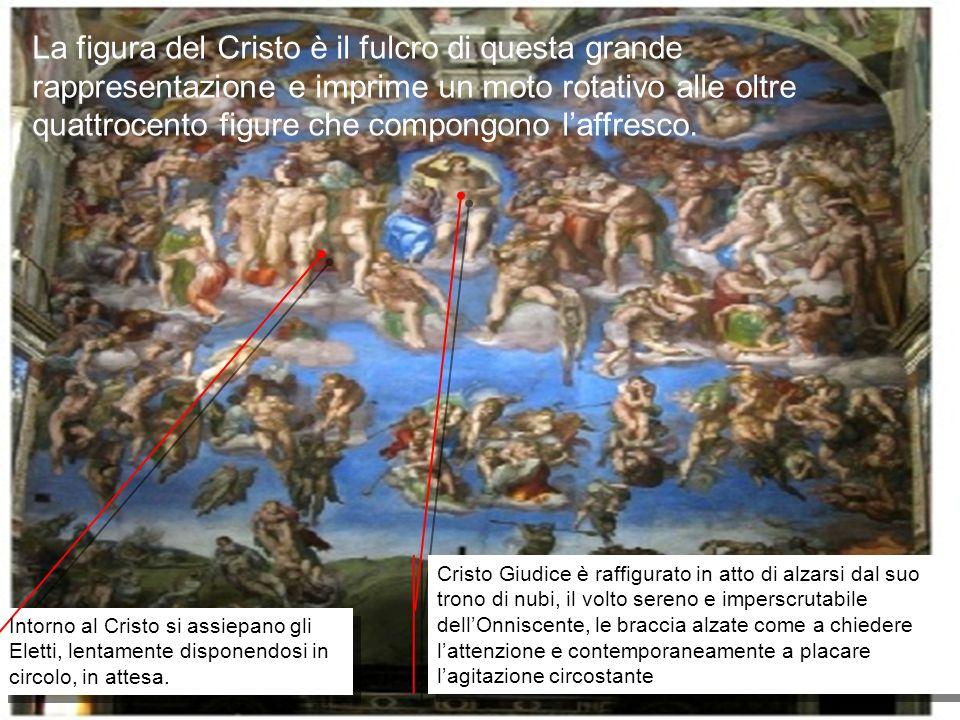 La figura del Cristo è il fulcro di questa grande rappresentazione e imprime un moto rotativo alle oltre quattrocento figure che compongono laffresco.