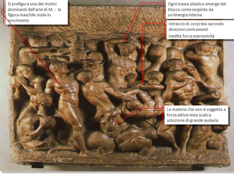 Michelangelo adotta, inoltre, un ingegnoso espediente, quello di conferire autorevolezza al personaggio attraverso una voluta sproporzione di alcune sue parti: le mani, nodose e di straordinaria bellezza, e il volto che, insieme al collo, è grande più della metà del busto.