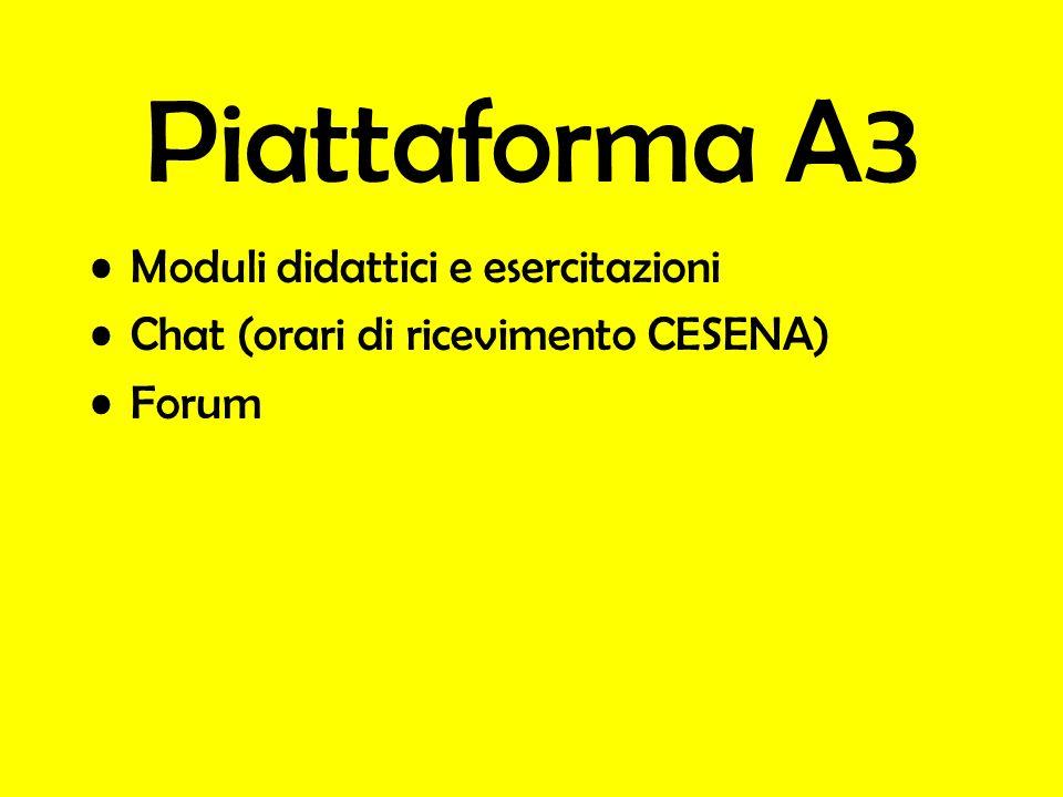 Piattaforma A3 Moduli didattici e esercitazioni Chat (orari di ricevimento CESENA) Forum