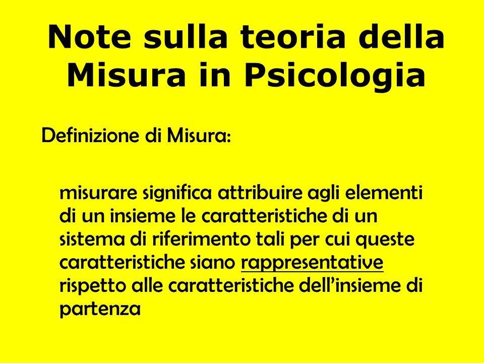 Note sulla teoria della Misura in Psicologia Definizione di Misura: misurare significa attribuire agli elementi di un insieme le caratteristiche di un