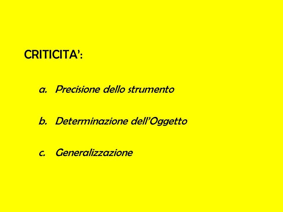CRITICITA: a.Precisione dello strumento b.Determinazione dellOggetto c.Generalizzazione