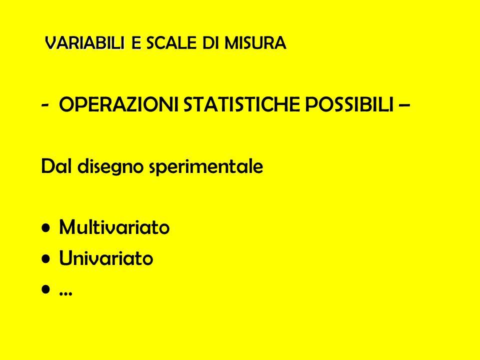 VARIABILI E VARIABILI E SCALE DI MISURA -OPERAZIONI STATISTICHE POSSIBILI – Dal disegno sperimentale Multivariato Univariato …