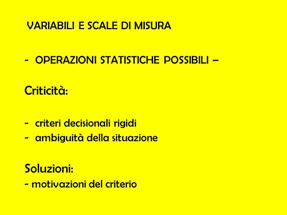 VARIABILI E VARIABILI E SCALE DI MISURA -OPERAZIONI STATISTICHE POSSIBILI – Criticità: -criteri decisionali rigidi -ambiguità della situazione Soluzio