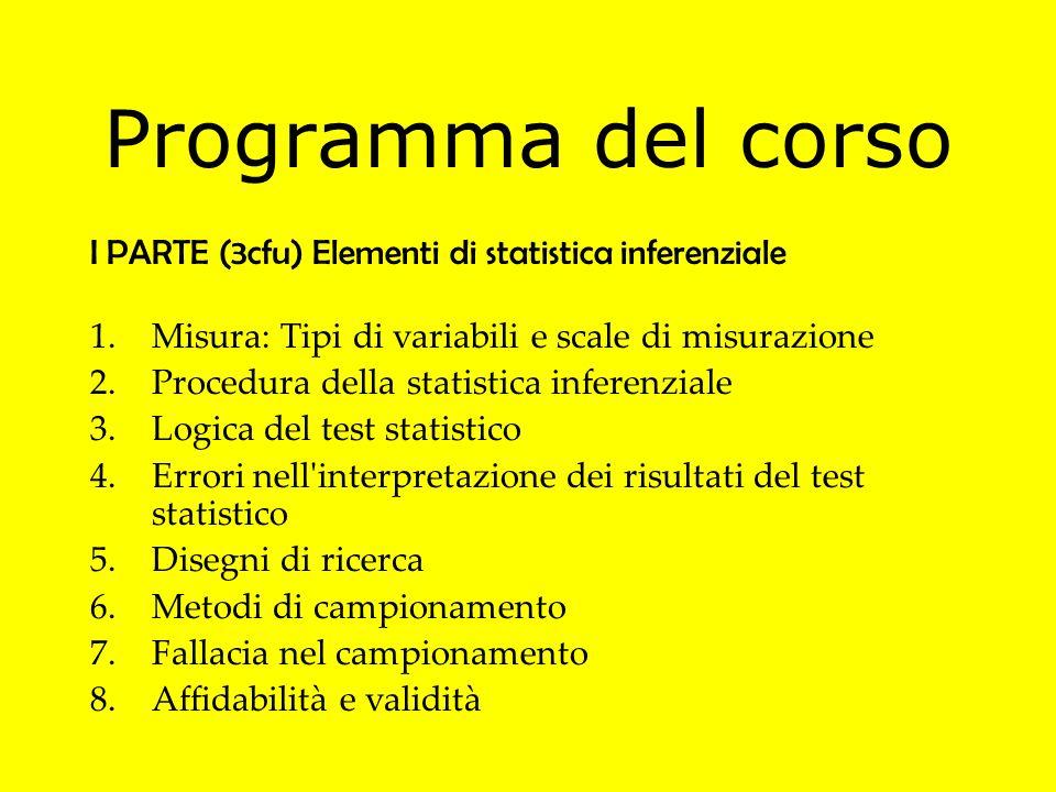Programma del corso I PARTE (3cfu) Elementi di statistica inferenziale 1.Misura: Tipi di variabili e scale di misurazione 2.Procedura della statistica