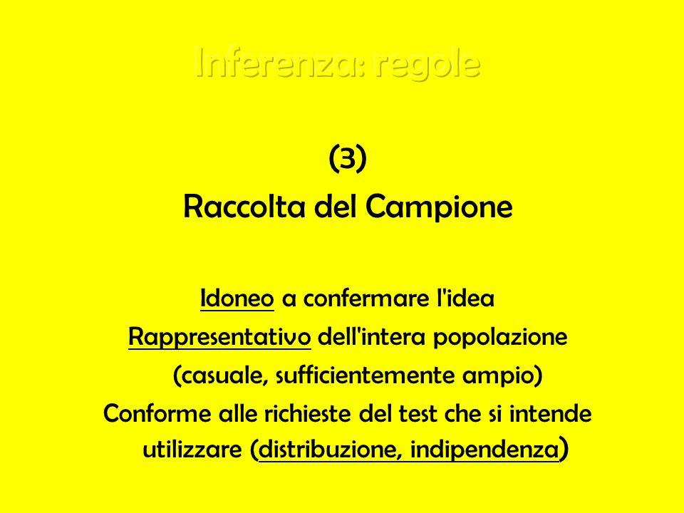 (3) Raccolta del Campione Idoneo a confermare l'idea Rappresentativo dell'intera popolazione (casuale, sufficientemente ampio) Conforme alle richieste