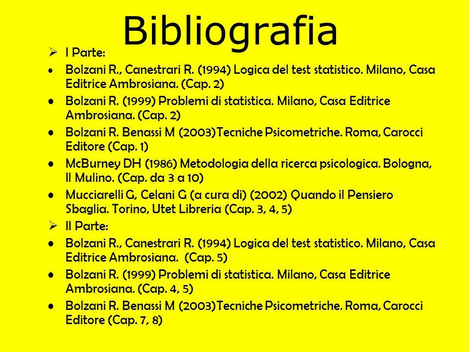 Bibliografia I Parte: Bolzani R., Canestrari R. (1994) Logica del test statistico. Milano, Casa Editrice Ambrosiana. (Cap. 2) Bolzani R. (1999) Proble