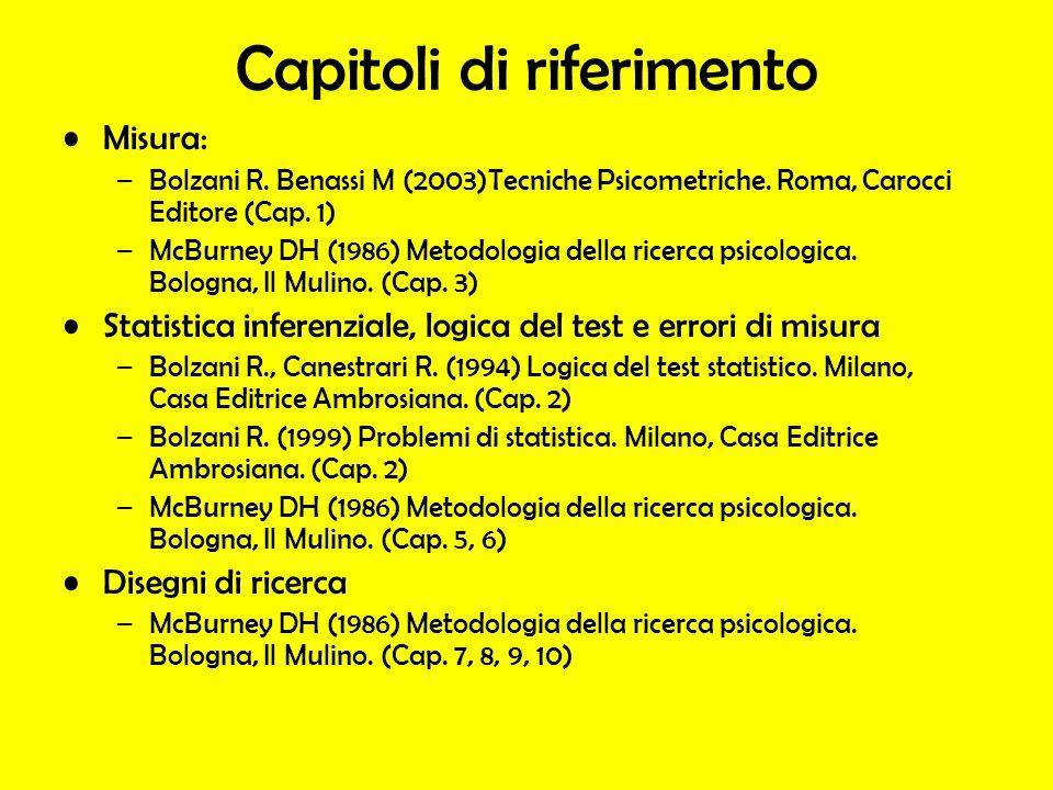 Capitoli di riferimento Misura: –Bolzani R. Benassi M (2003)Tecniche Psicometriche. Roma, Carocci Editore (Cap. 1) –McBurney DH (1986) Metodologia del