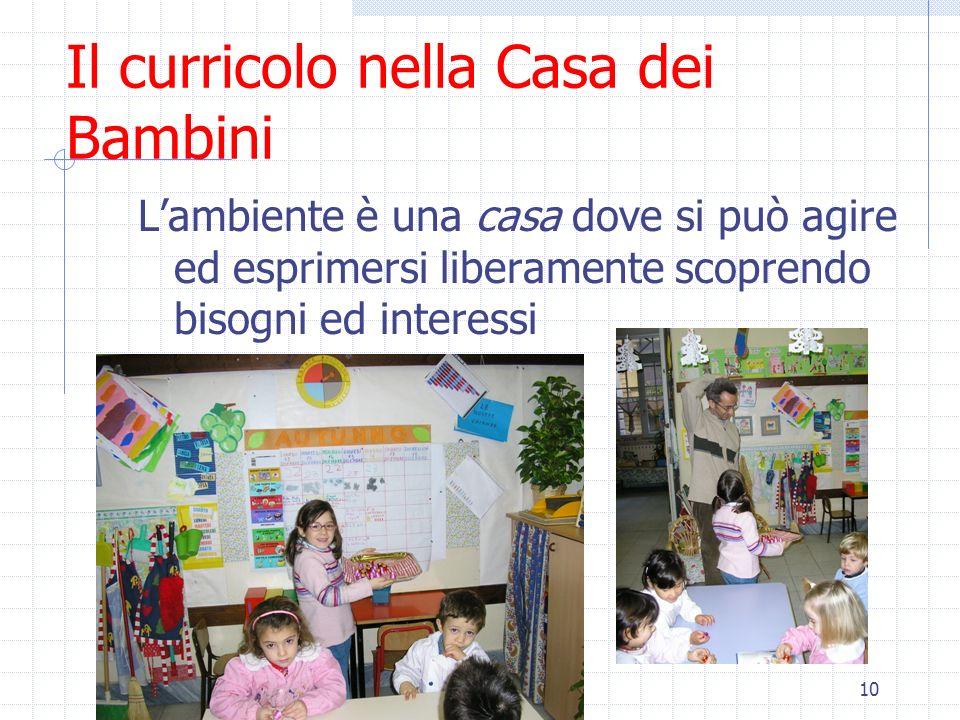 10 Il curricolo nella Casa dei Bambini Lambiente è una casa dove si può agire ed esprimersi liberamente scoprendo bisogni ed interessi