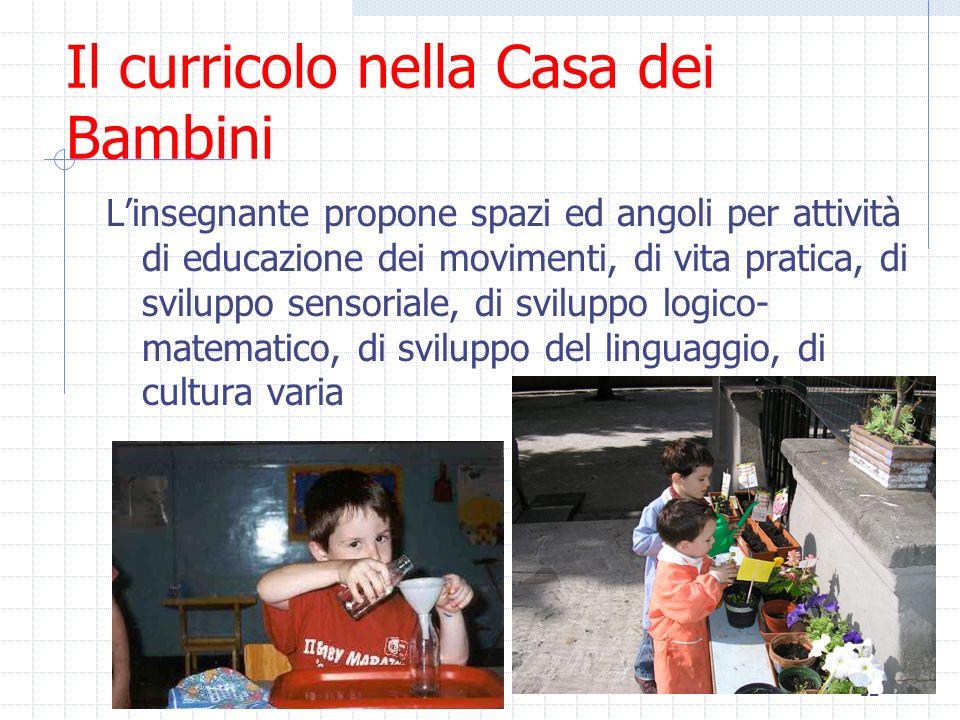 12 Il curricolo nella Casa dei Bambini Linsegnante propone spazi ed angoli per attività di educazione dei movimenti, di vita pratica, di sviluppo sens