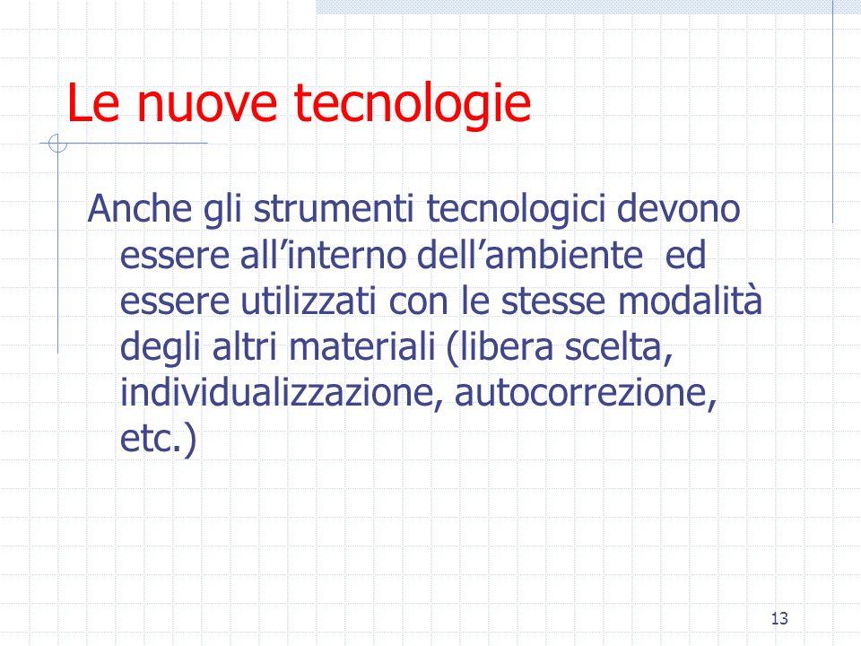 13 Le nuove tecnologie Anche gli strumenti tecnologici devono essere allinterno dellambiente ed essere utilizzati con le stesse modalità degli altri m