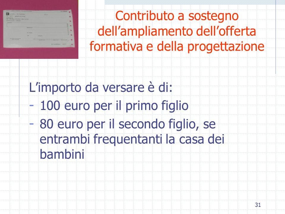 31 Contributo a sostegno dellampliamento dellofferta formativa e della progettazione Limporto da versare è di: - 100 euro per il primo figlio - 80 eur