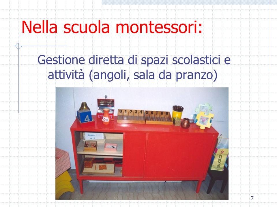 8 Nella scuola montessori: Altri progetti: tutte le attività sono possibili purchè lo stile corrisponda alle caratteristiche metodologiche montessoriane (rispetto delle scelte individuali, dei tempi e dei modi di apprendere)