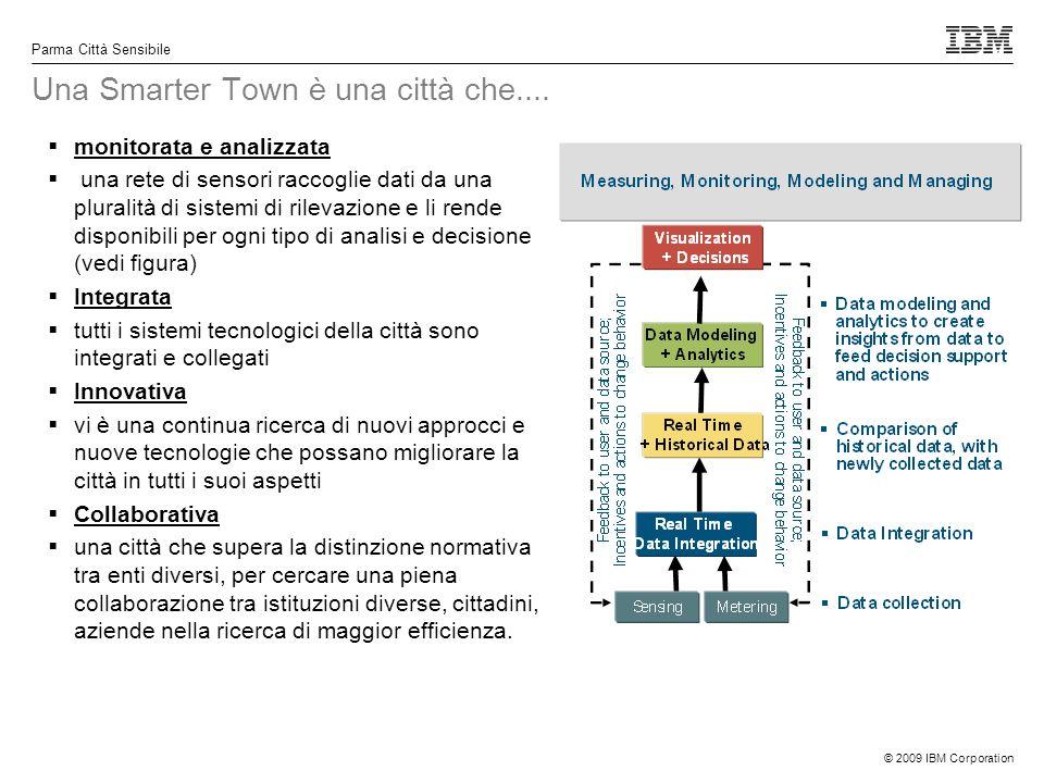 © 2009 IBM Corporation Parma Città Sensibile Una Smarter Town è una città che.... monitorata e analizzata una rete di sensori raccoglie dati da una pl