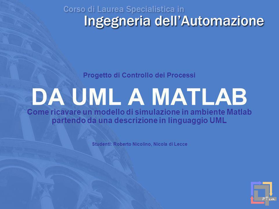 DA UML A MATLAB Come ricavare un modello di simulazione in ambiente Matlab partendo da una descrizione in linguaggio UML Progetto di Controllo dei Pro