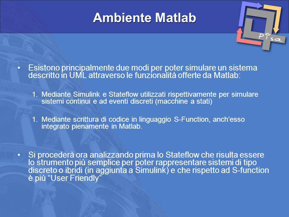 Esistono principalmente due modi per poter simulare un sistema descritto in UML attraverso le funzionalità offerte da Matlab: 1.Mediante Simulink e St