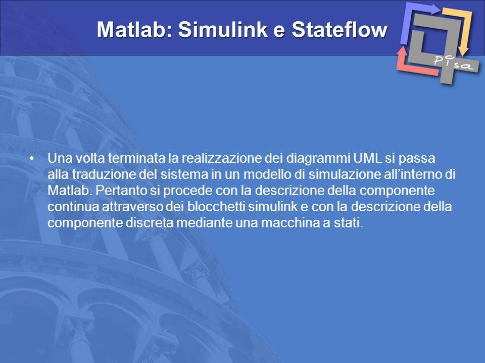 Una volta terminata la realizzazione dei diagrammi UML si passa alla traduzione del sistema in un modello di simulazione allinterno di Matlab. Pertant