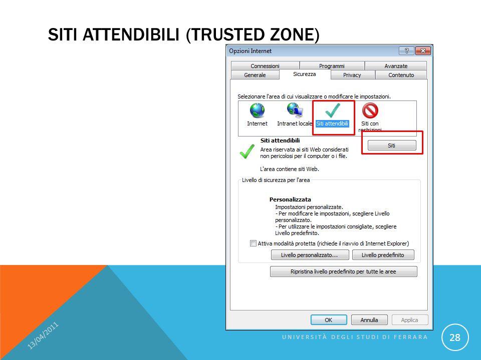 SITI ATTENDIBILI (TRUSTED ZONE) 13/04/2011 UNIVERSITÀ DEGLI STUDI DI FERRARA 28