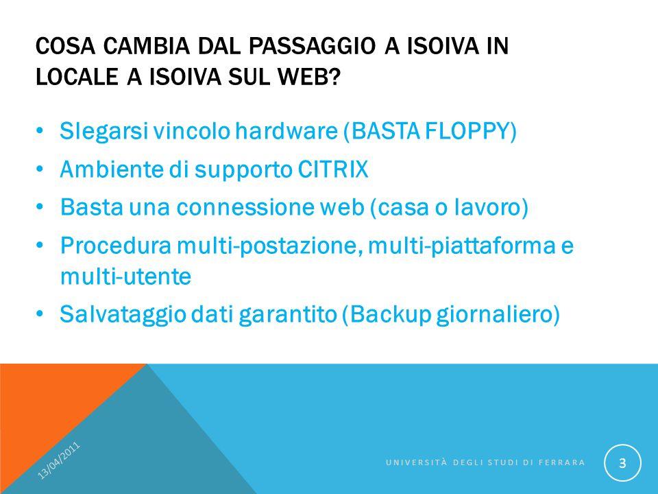 REQUISITI - CITRIXONLINEPLUGINWEB 13/04/2011 UNIVERSITÀ DEGLI STUDI DI FERRARA 14