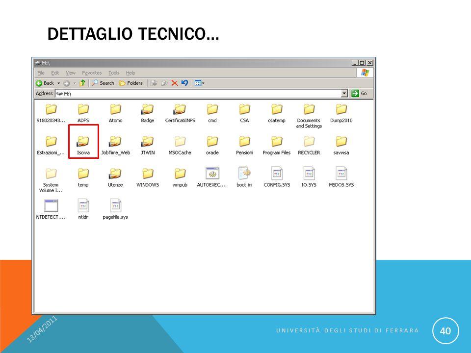 DETTAGLIO TECNICO… 13/04/2011 UNIVERSITÀ DEGLI STUDI DI FERRARA 40