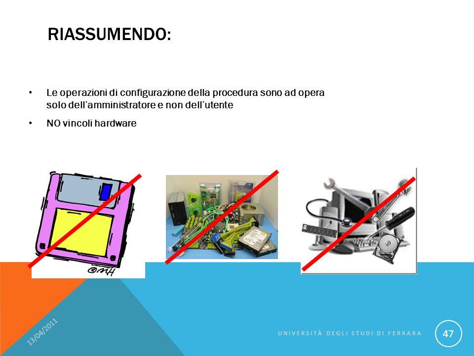 RIASSUMENDO: Le operazioni di configurazione della procedura sono ad opera solo dellamministratore e non dellutente NO vincoli hardware 13/04/2011 UNIVERSITÀ DEGLI STUDI DI FERRARA 47